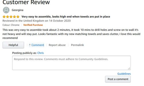 Amazon Review the Review comment feature to go